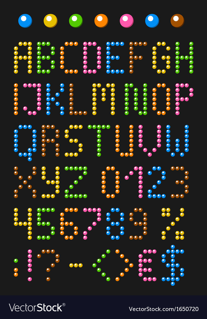 Colorful beaded english alphabet vector | Price: 1 Credit (USD $1)