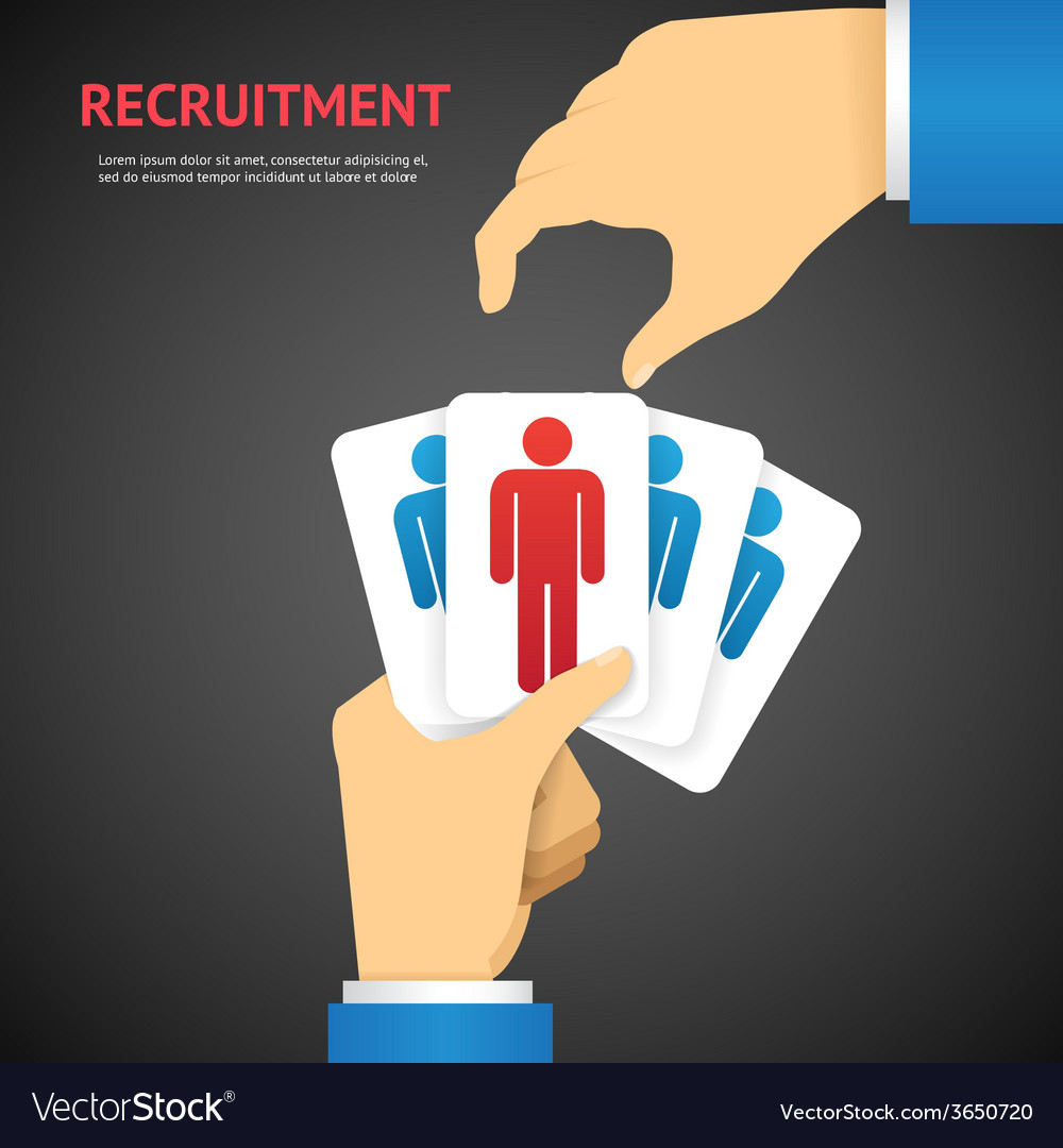 Creative recruitment cards hold by hand concept vector | Price: 1 Credit (USD $1)