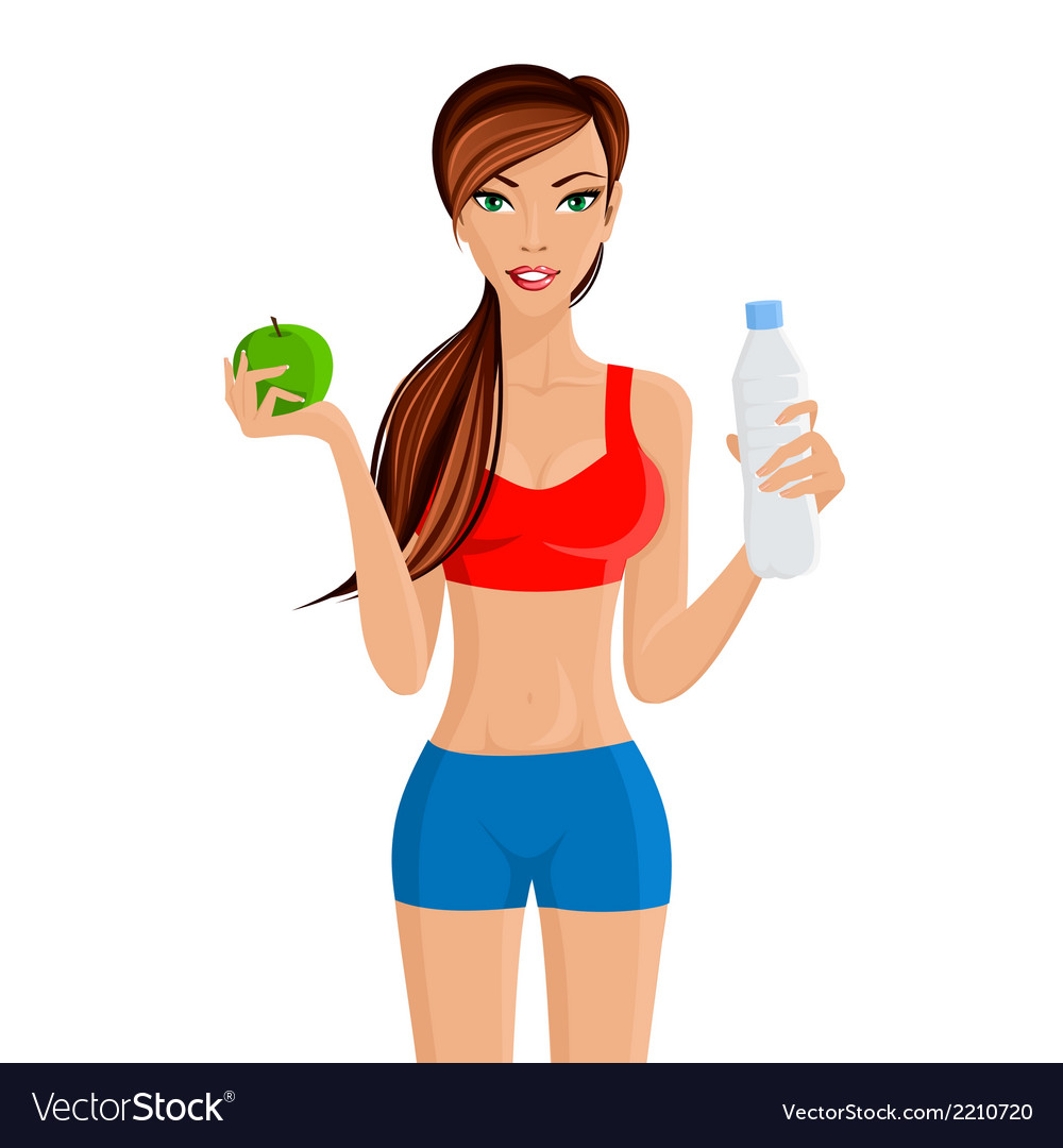 Healthy lifestyle fitness girl vector | Price: 1 Credit (USD $1)