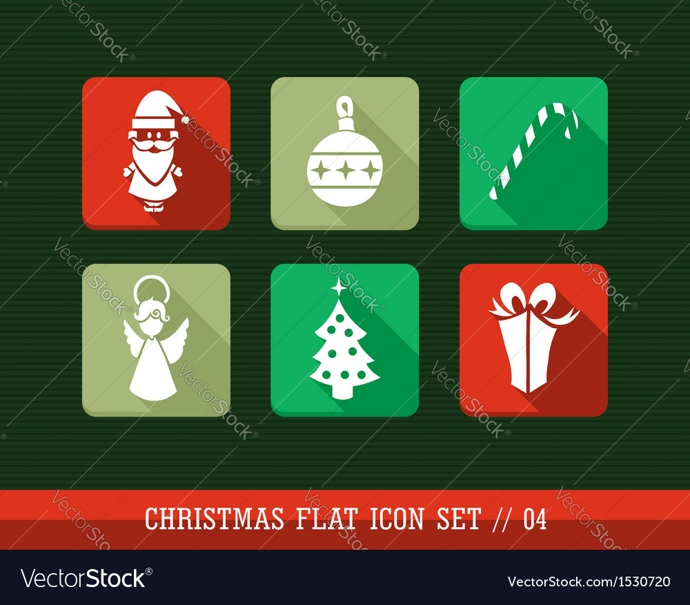 Merry christmas colorful web app flat icons set vector | Price: 1 Credit (USD $1)