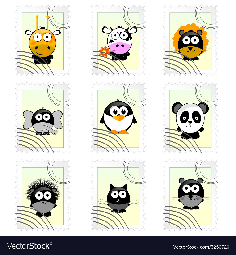 Post mark with funny animals vector | Price: 1 Credit (USD $1)