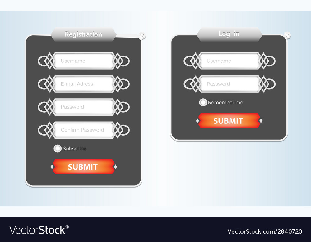 Registration web form vector | Price: 1 Credit (USD $1)