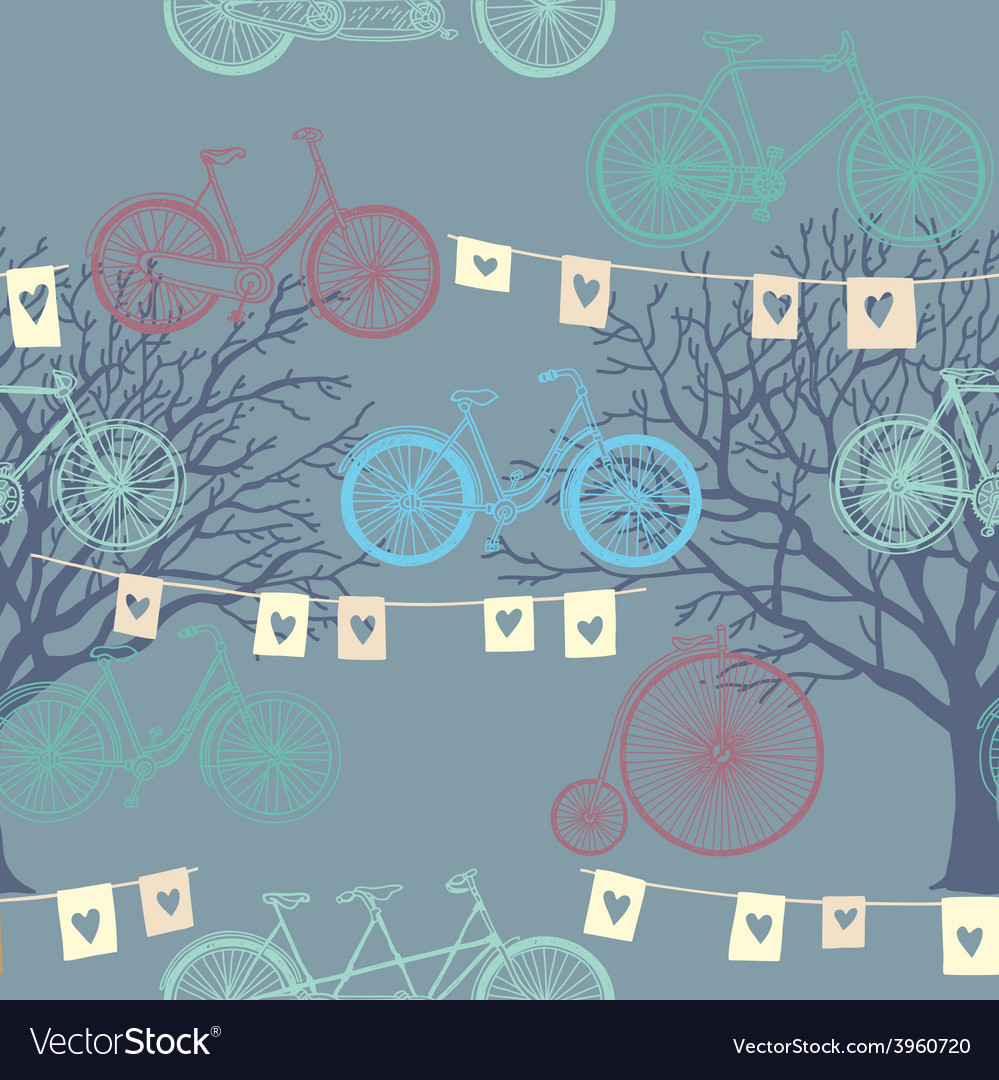 Seamless pattern with retro bicycle evening vector | Price: 1 Credit (USD $1)