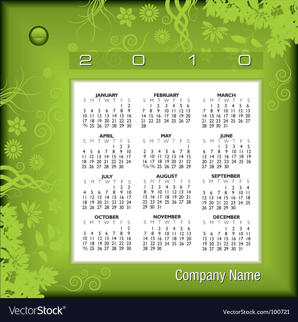2010 floral green calendar vector | Price: 1 Credit (USD $1)