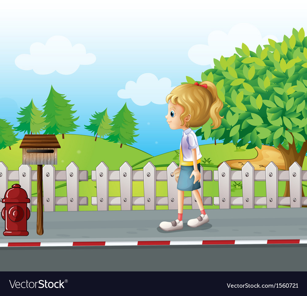 A lady walking in the street alone vector | Price: 3 Credit (USD $3)