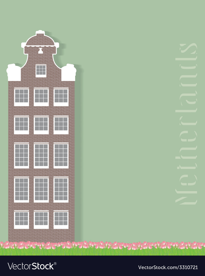 Ancient building and tulips on a green vector | Price: 1 Credit (USD $1)