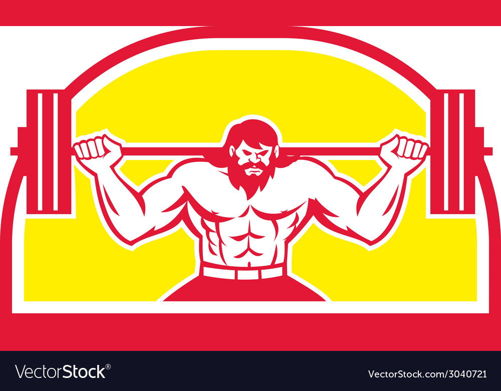 Bodybuilder lifting barbell retro vector | Price: 1 Credit (USD $1)