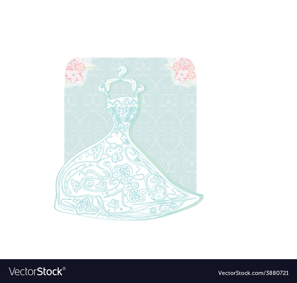 Bridal dress with floral ornament card vector | Price: 1 Credit (USD $1)