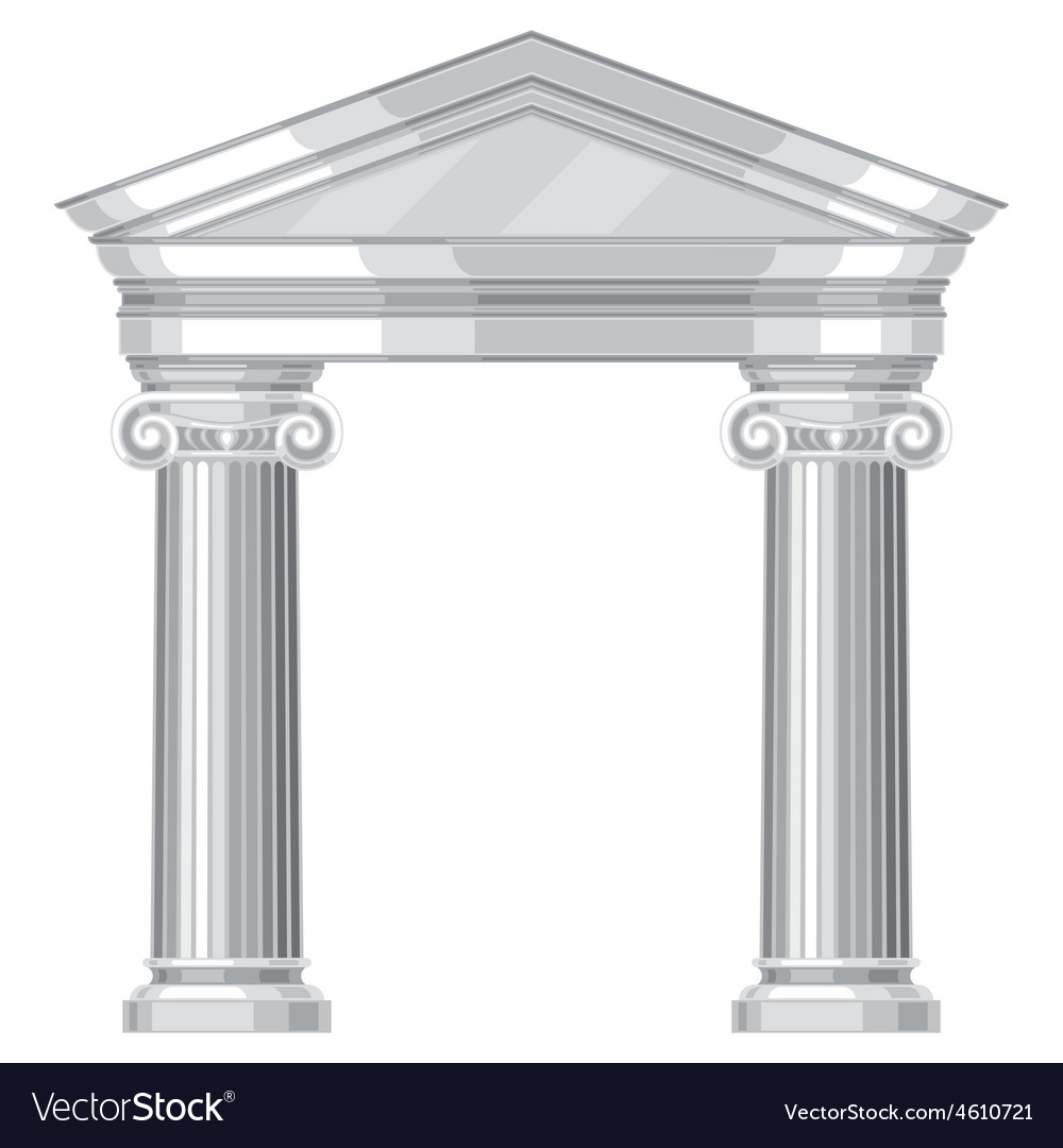 Ionic realistic antique greek temple with columns vector | Price: 1 Credit (USD $1)