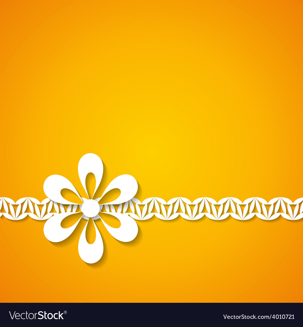 Orange background with a floral border vector | Price: 1 Credit (USD $1)