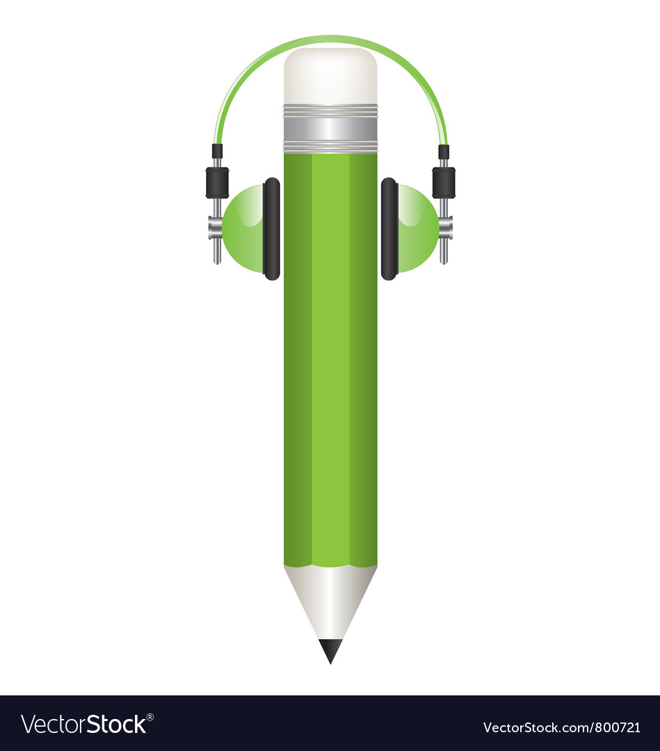 Pencil and headphones s vector | Price: 1 Credit (USD $1)