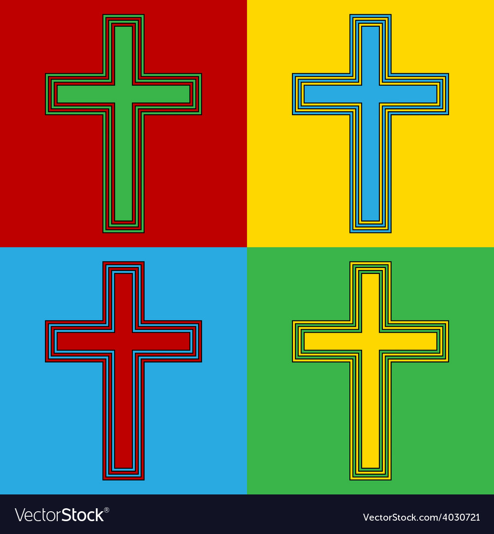 Pop art religious cross icons vector | Price: 1 Credit (USD $1)