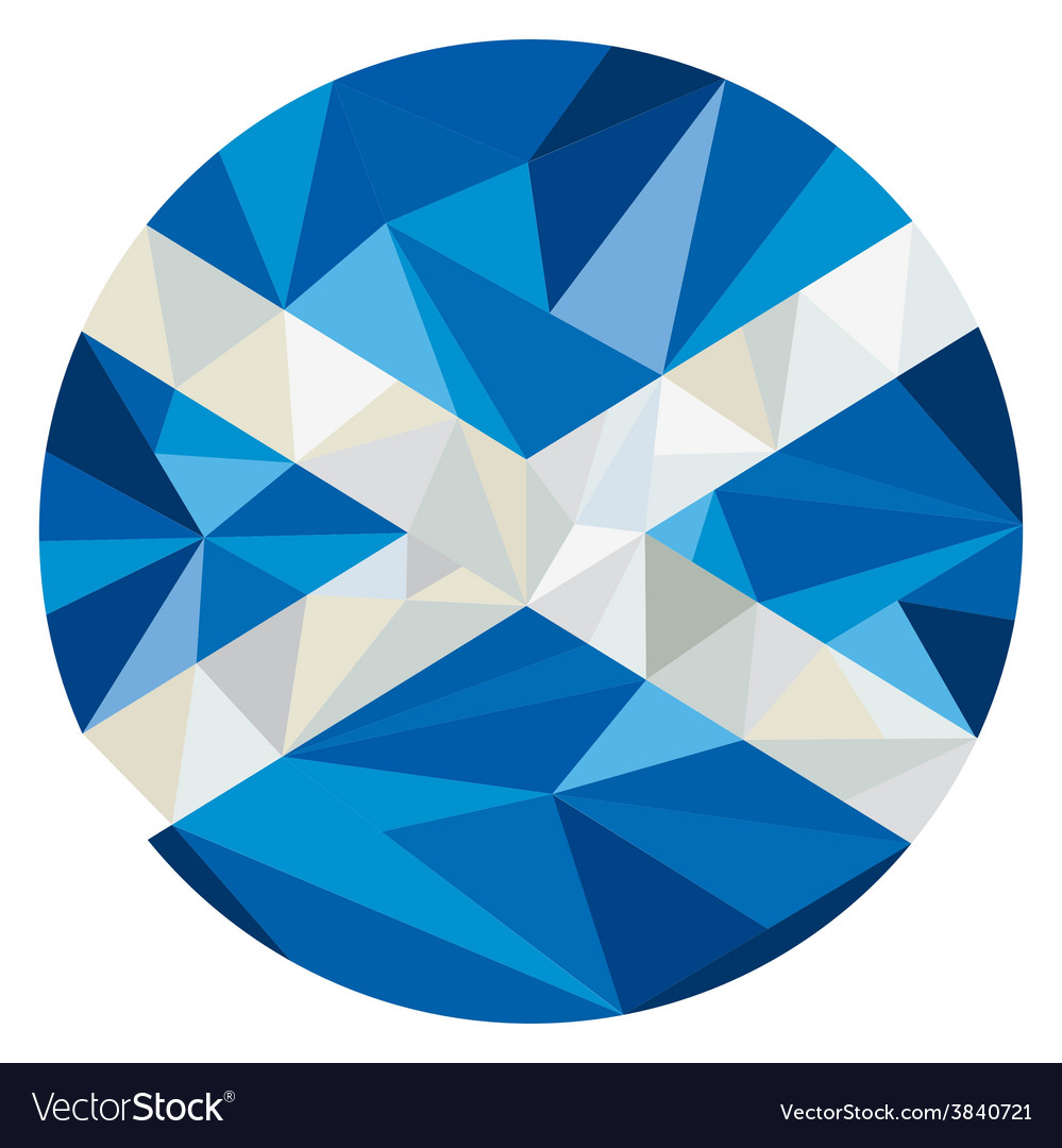 Scotland flag icon circle low polygon vector | Price: 1 Credit (USD $1)