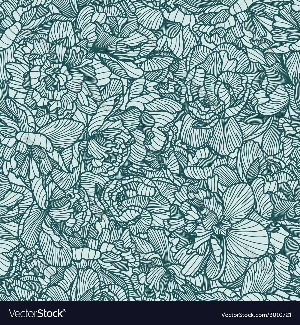 Seamless peony pattern vector | Price: 1 Credit (USD $1)