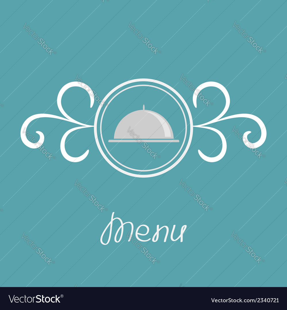 Silver platter cloche and round frame vector | Price: 1 Credit (USD $1)
