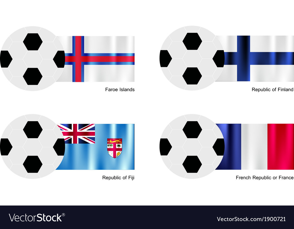Soccer ball with faroe islands finland fiji flag vector | Price: 1 Credit (USD $1)