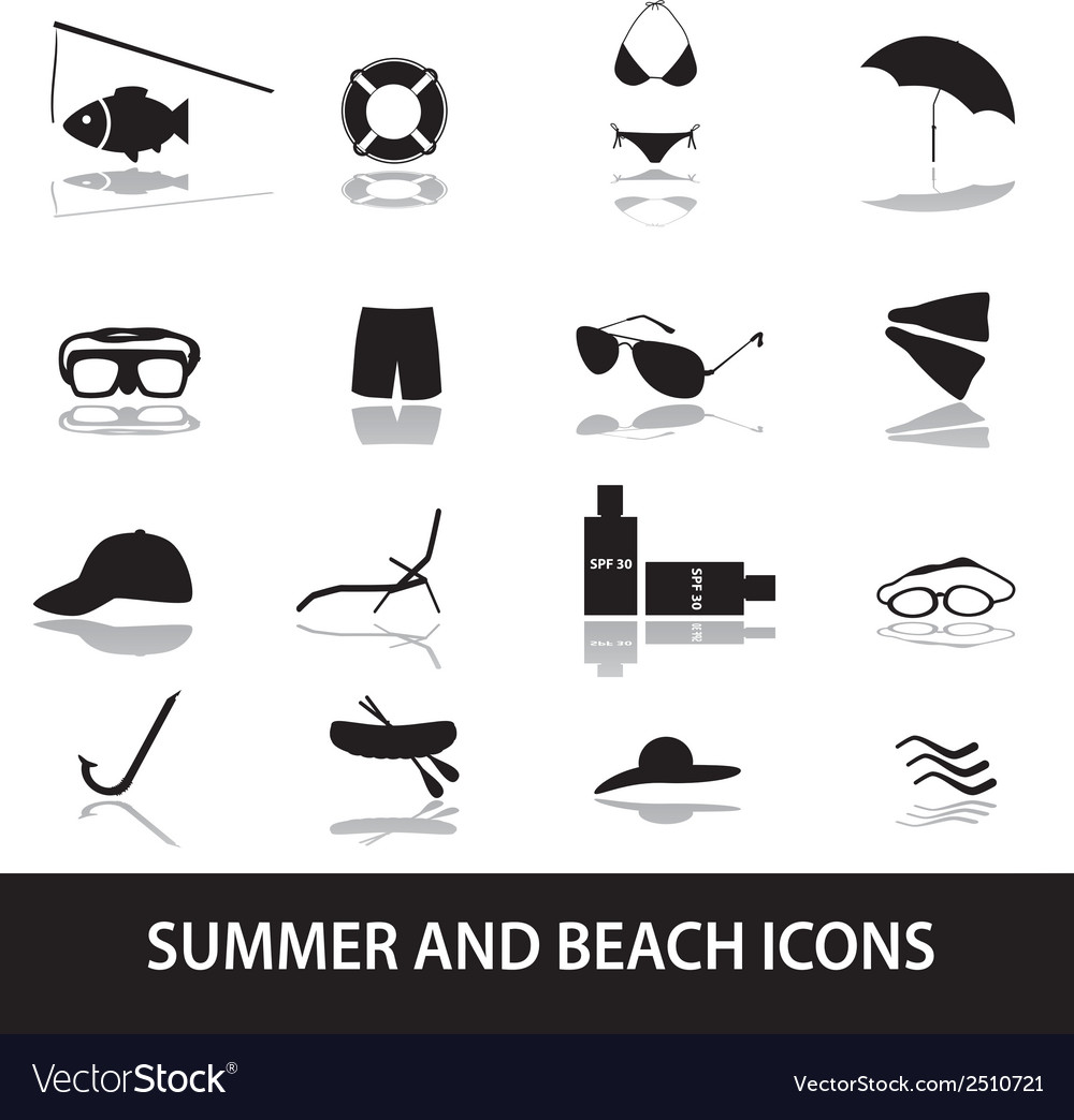 Summer and beach icons eps10 vector | Price: 1 Credit (USD $1)