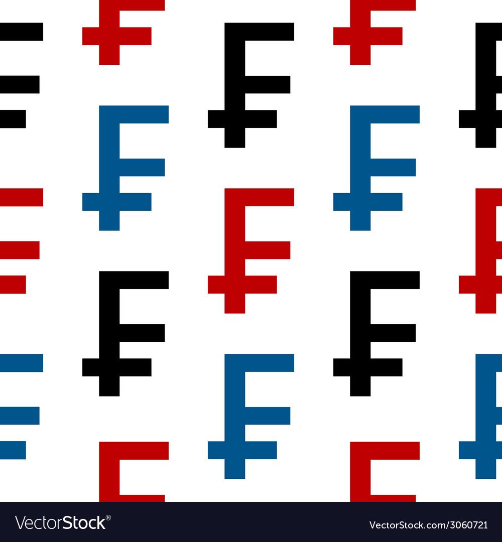 Swiss franc symbol seamless pattern vector | Price: 1 Credit (USD $1)