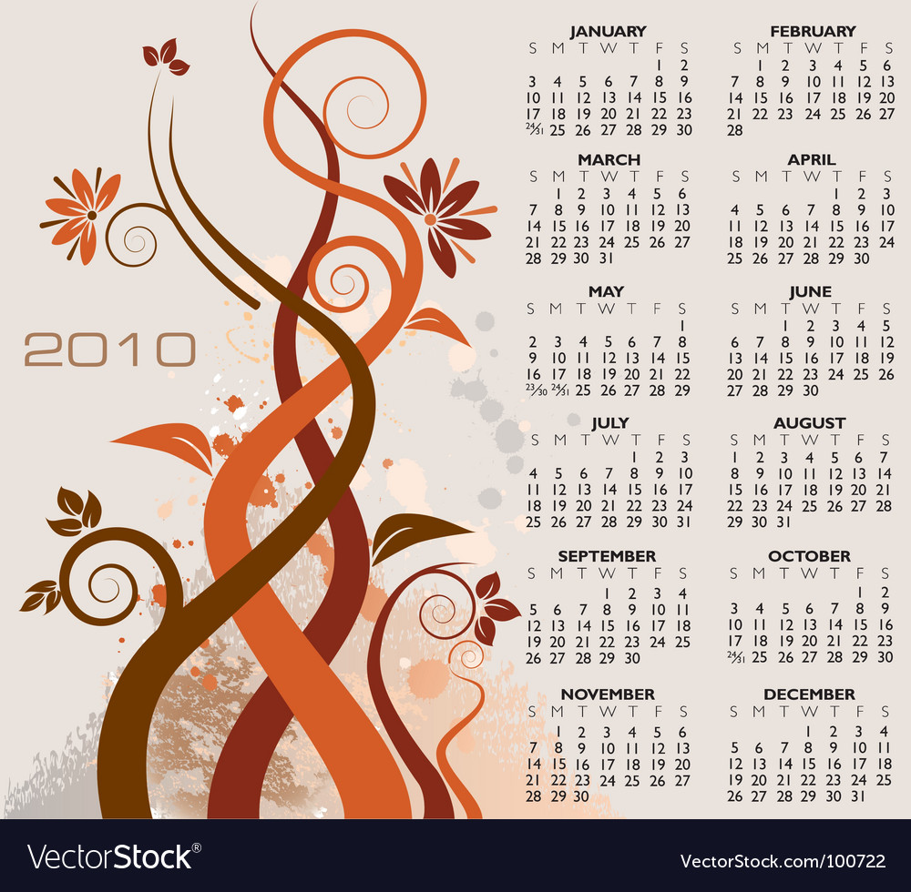 2010 floral calendar vector | Price: 1 Credit (USD $1)