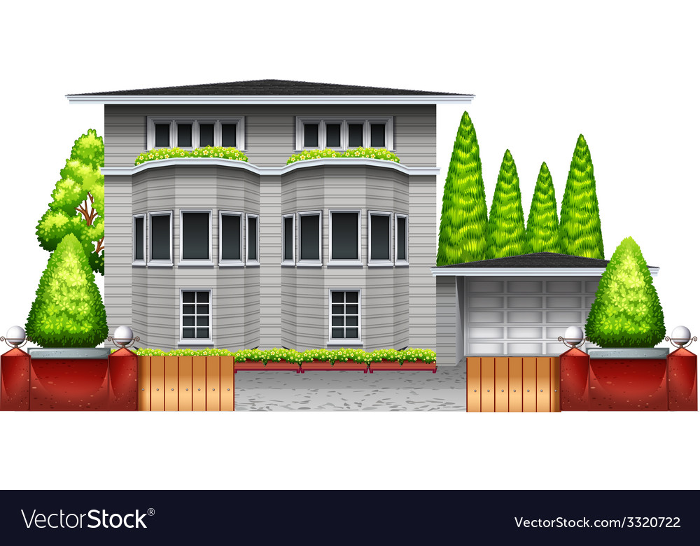 A big grey house vector | Price: 1 Credit (USD $1)