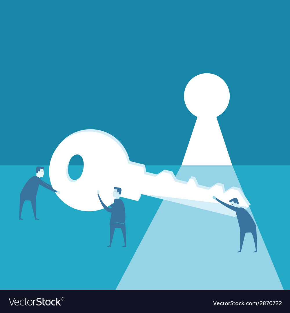 Businessman try to use key against opened wall an vector | Price: 1 Credit (USD $1)