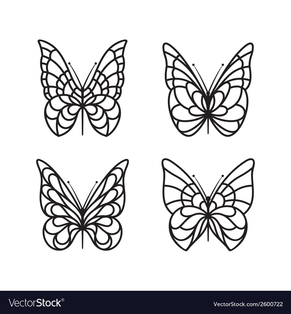 Butterfly icon set vector | Price: 1 Credit (USD $1)