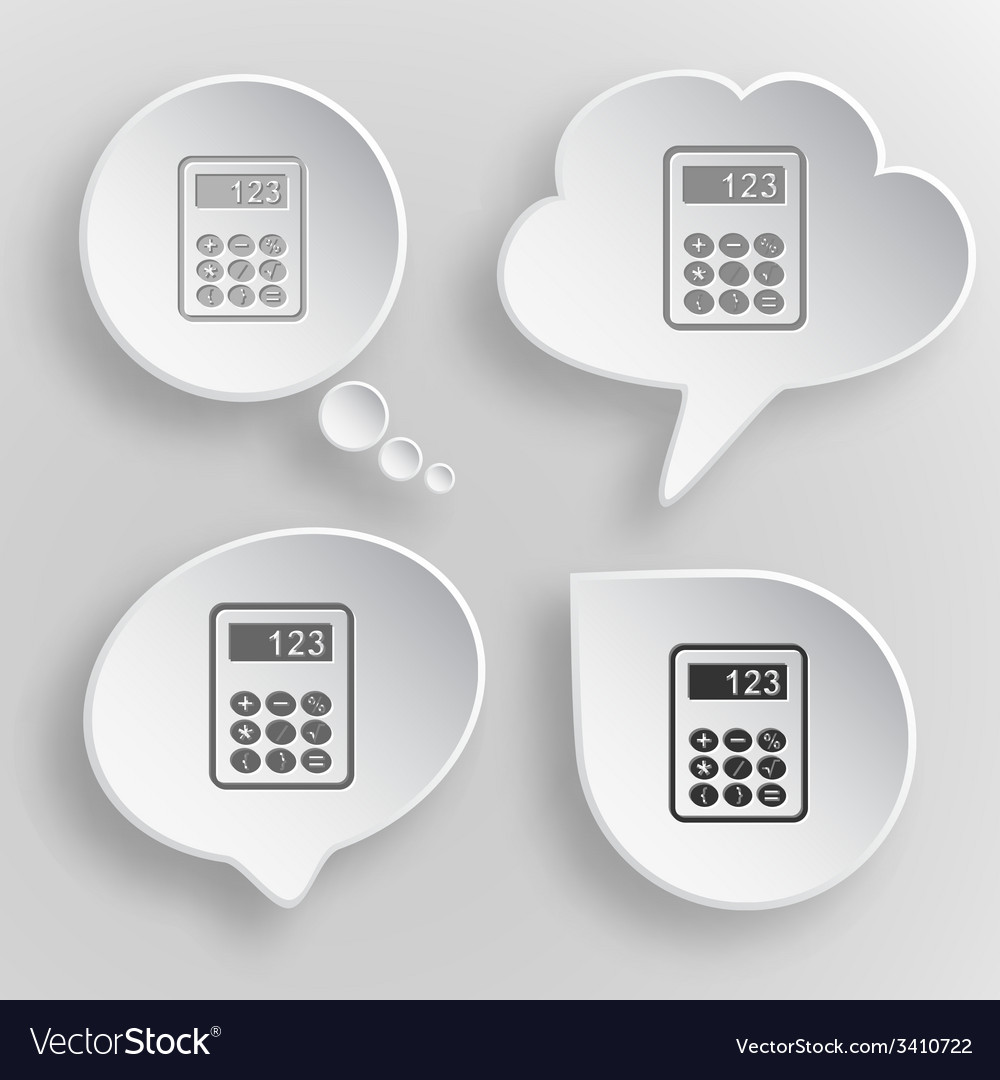 Calculator white flat buttons on gray background vector | Price: 1 Credit (USD $1)