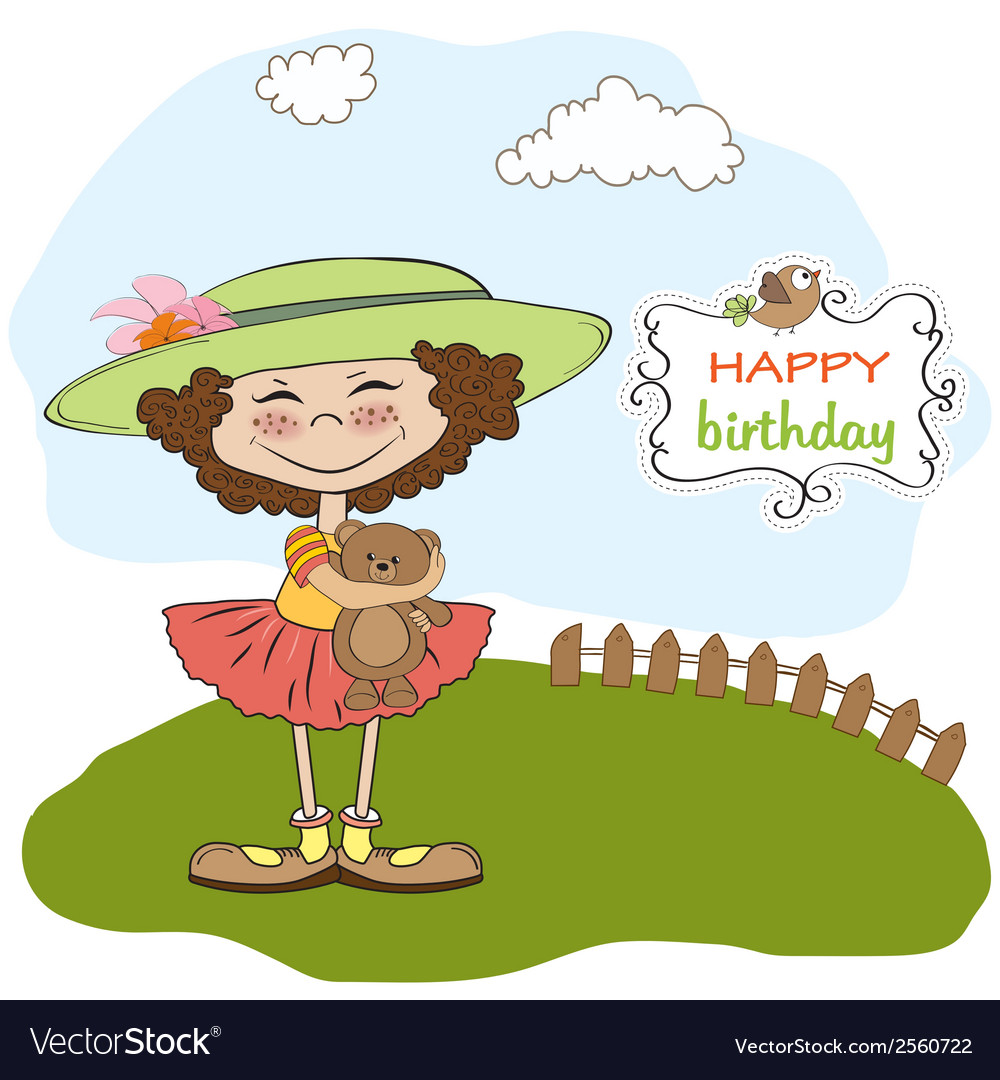 Cute birthday greeting card with girl and her vector | Price: 1 Credit (USD $1)