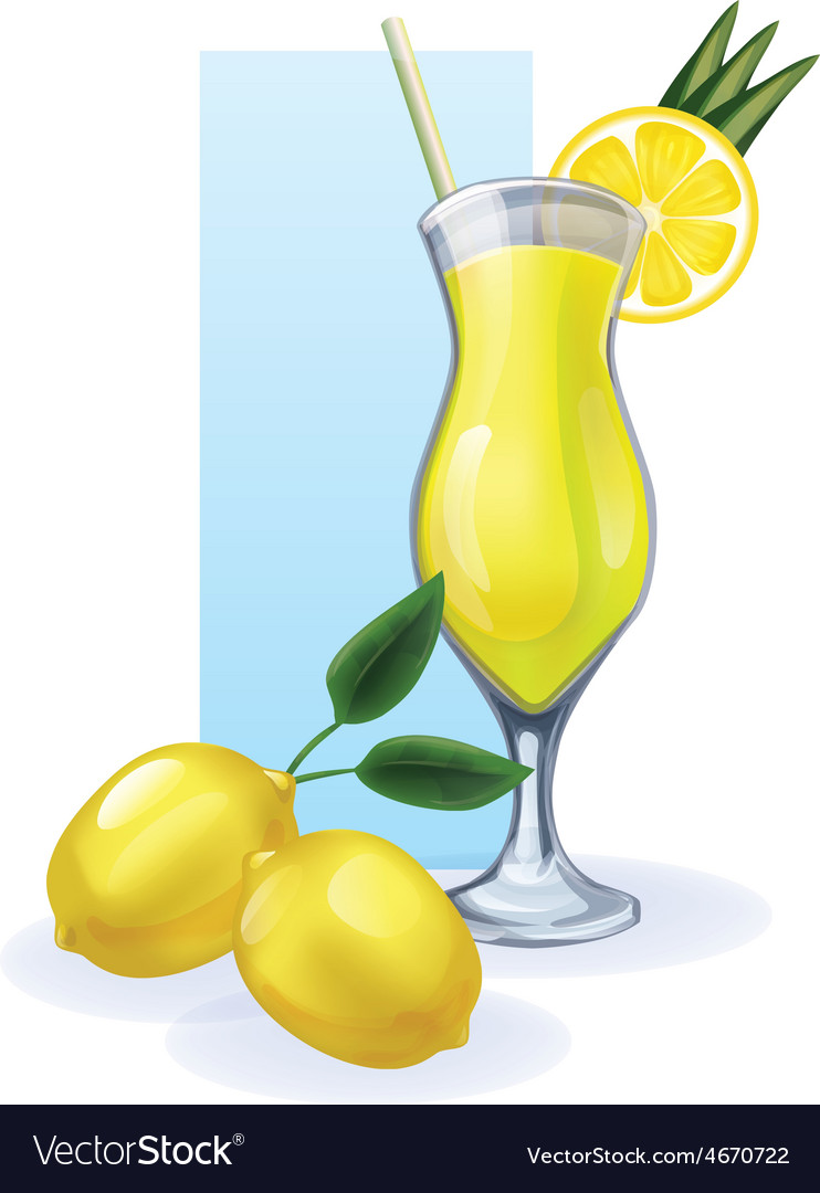 Lemon in goblet of juice cocktail smoothie vector | Price: 1 Credit (USD $1)