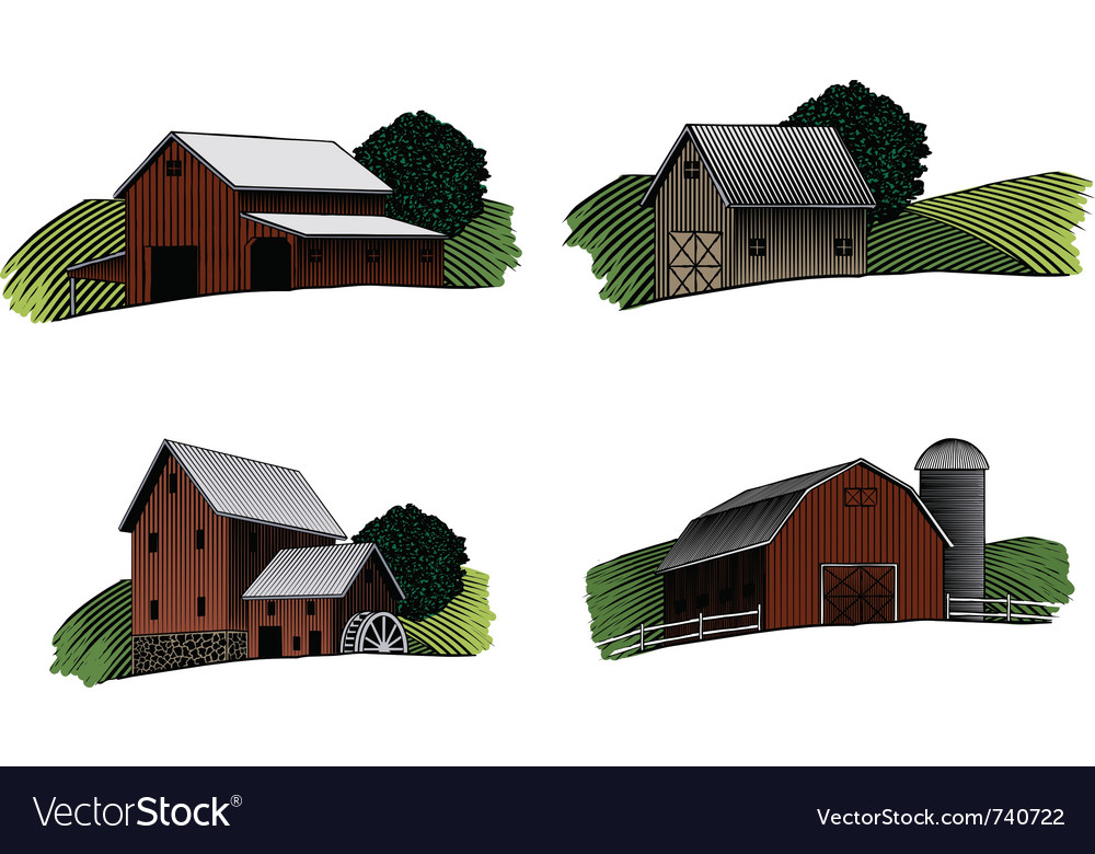 Old barn scenes color vector | Price: 1 Credit (USD $1)