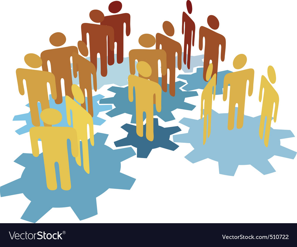 People team work connect on blue gears vector | Price: 1 Credit (USD $1)