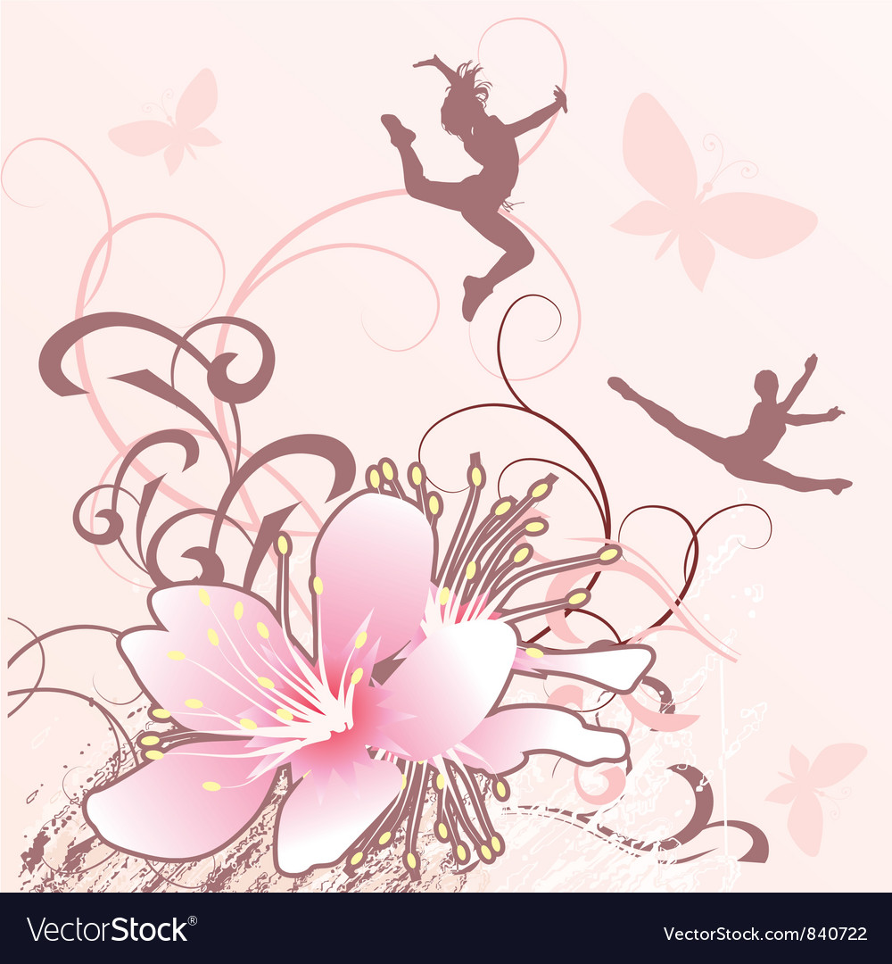 Pink flowers girls converted vector | Price: 1 Credit (USD $1)