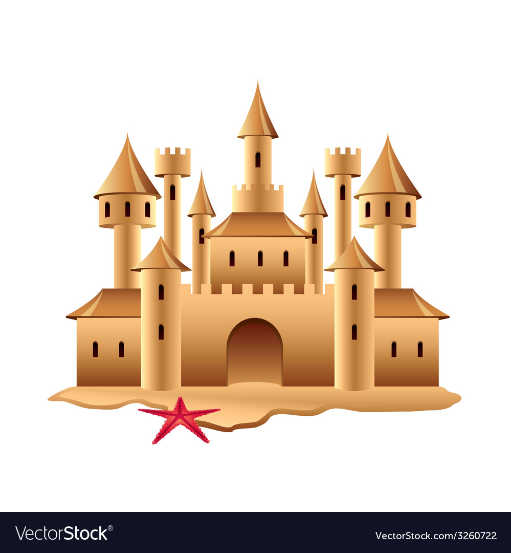 Sand castle isolated vector | Price: 1 Credit (USD $1)