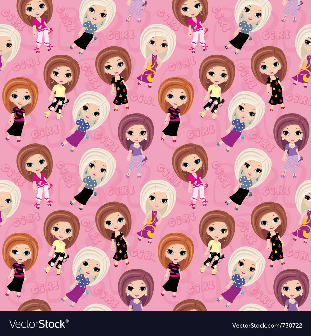 Seamless girls pattern vector | Price: 1 Credit (USD $1)