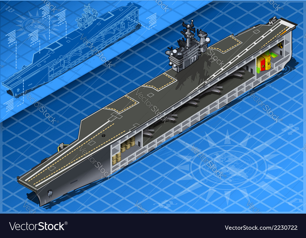 Section of isometric aircraft carrier in front vector | Price: 1 Credit (USD $1)