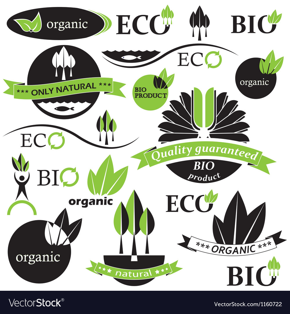 Set of bio and organic badges and labels vector | Price: 1 Credit (USD $1)