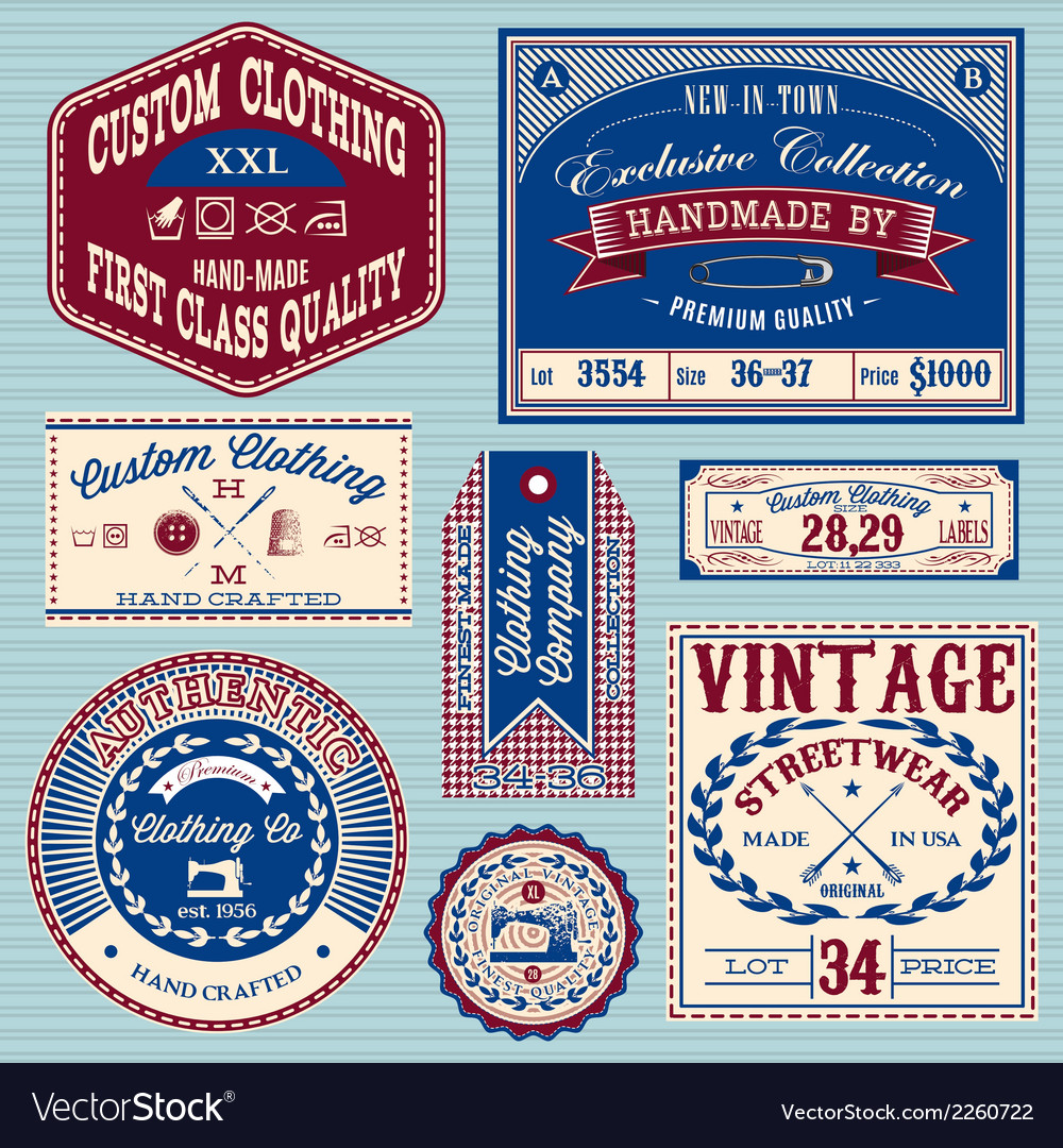 Set of vintage labels for stylish clothes vector | Price: 1 Credit (USD $1)