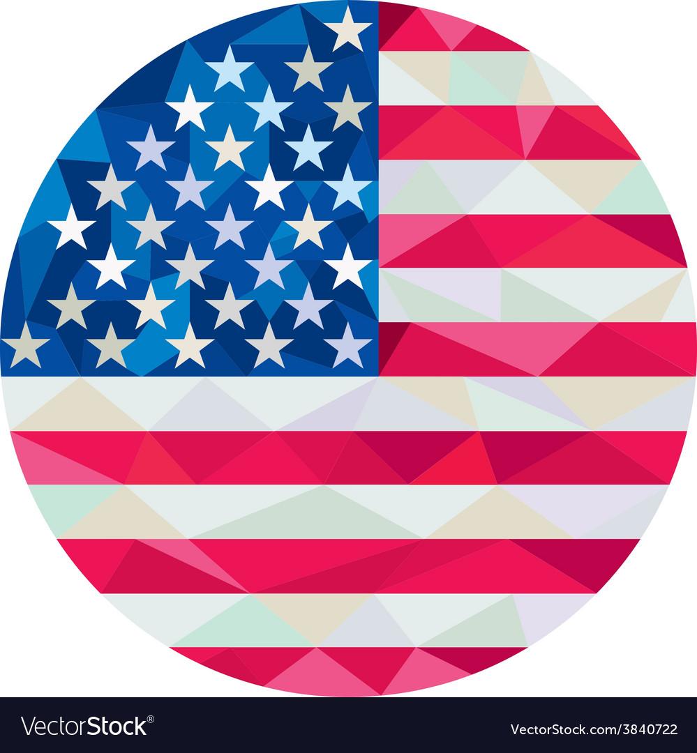 Usa flag stars and stripes circle low polygon vector | Price: 1 Credit (USD $1)