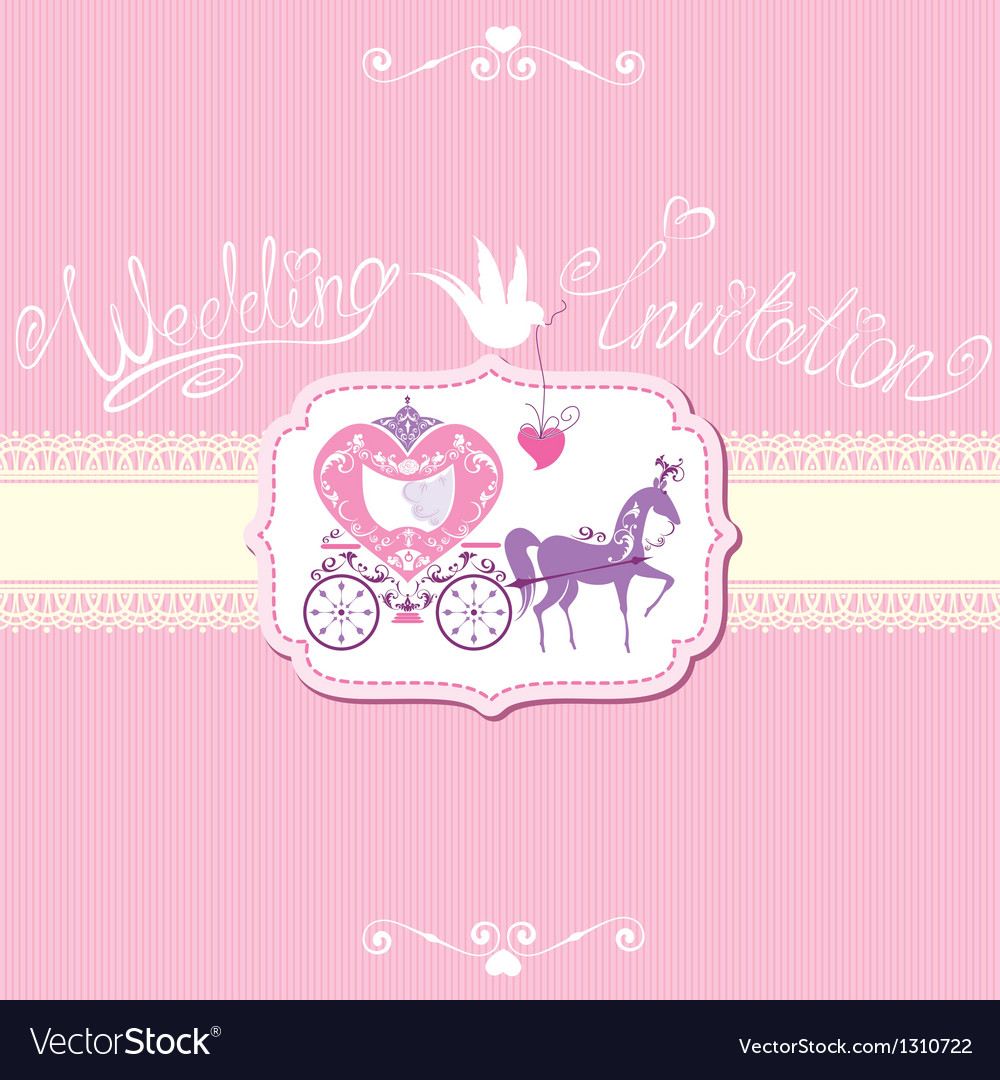 Wedding invitation with retro horse carriage vector | Price: 1 Credit (USD $1)