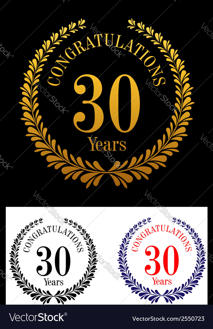30 years anniversary laurel wreaths vector | Price: 1 Credit (USD $1)