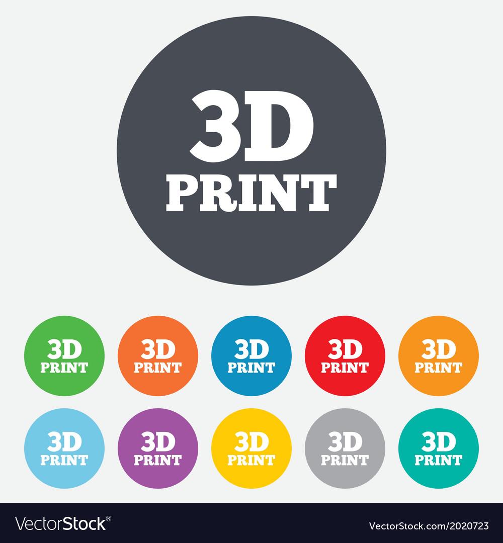 3d print sign icon 3d printing symbol vector | Price: 1 Credit (USD $1)