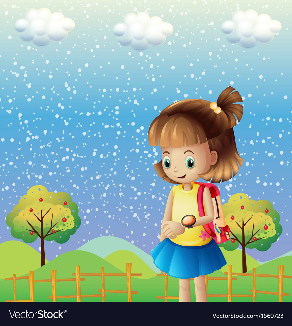 A child with a backpack and a watch near the hills vector | Price: 3 Credit (USD $3)