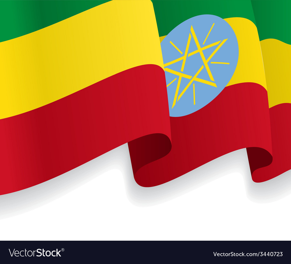 Background with waving ethiopian flag vector | Price: 1 Credit (USD $1)