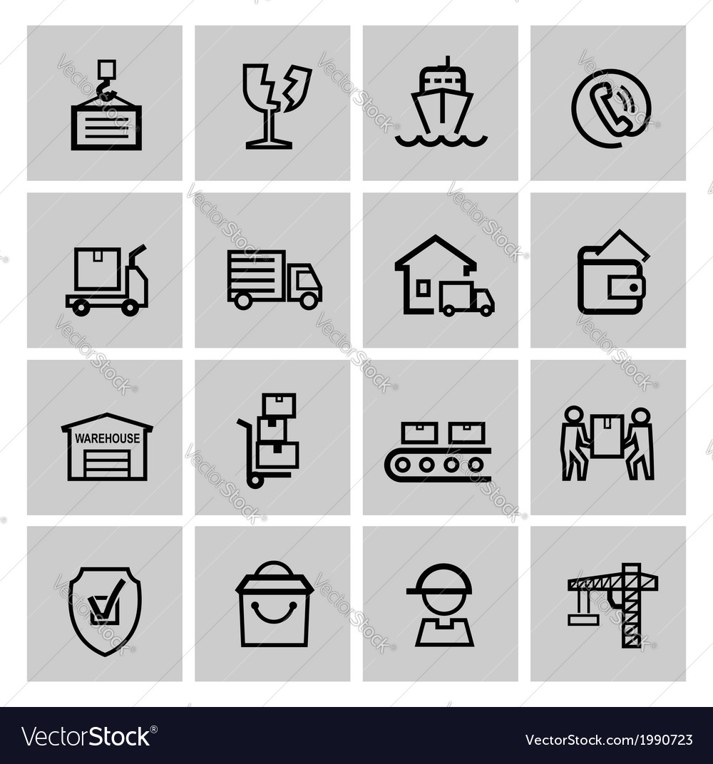 Black shipping icon set vector | Price: 1 Credit (USD $1)