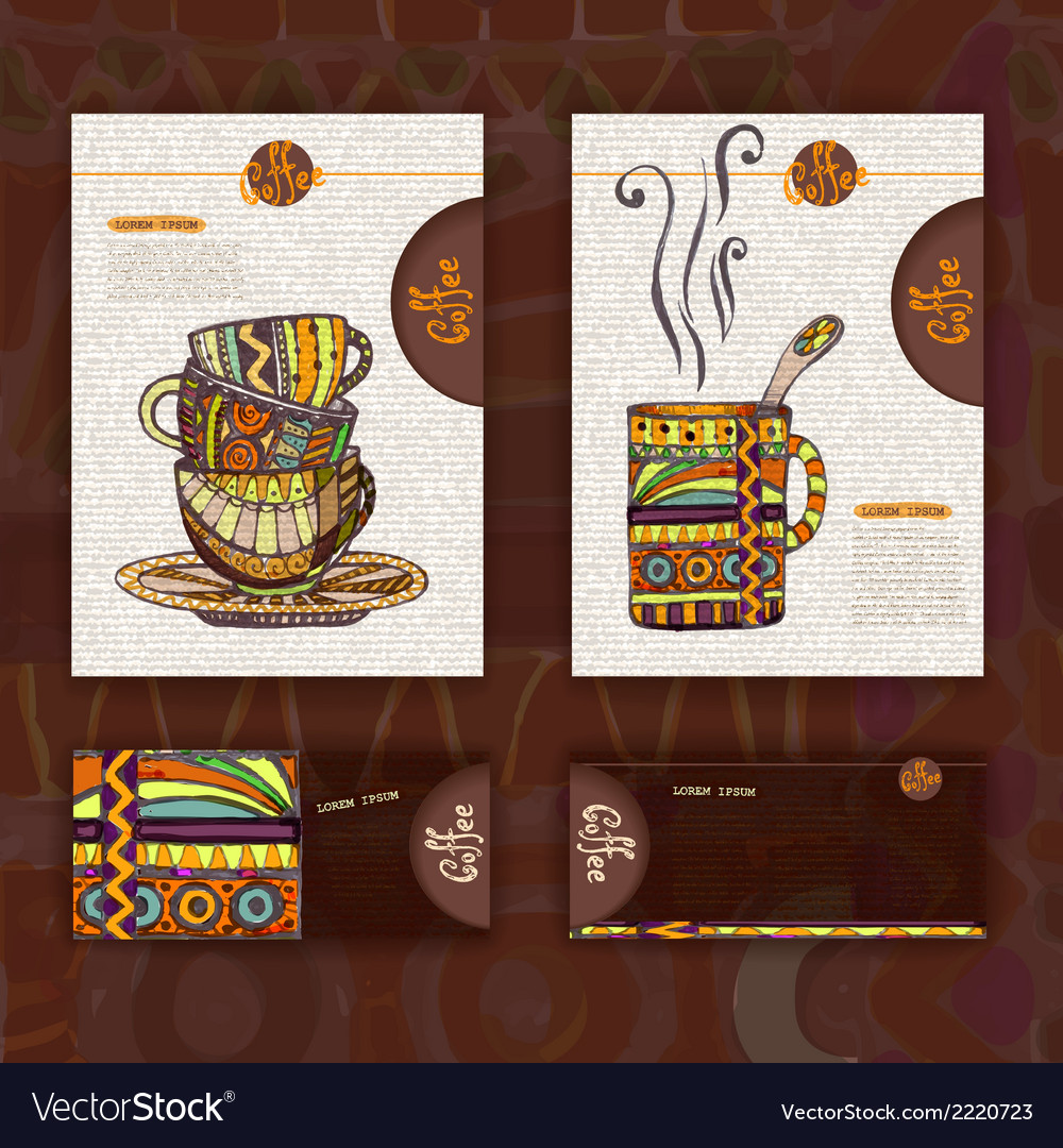 Corporate identity menu cup of coffee vector | Price: 1 Credit (USD $1)