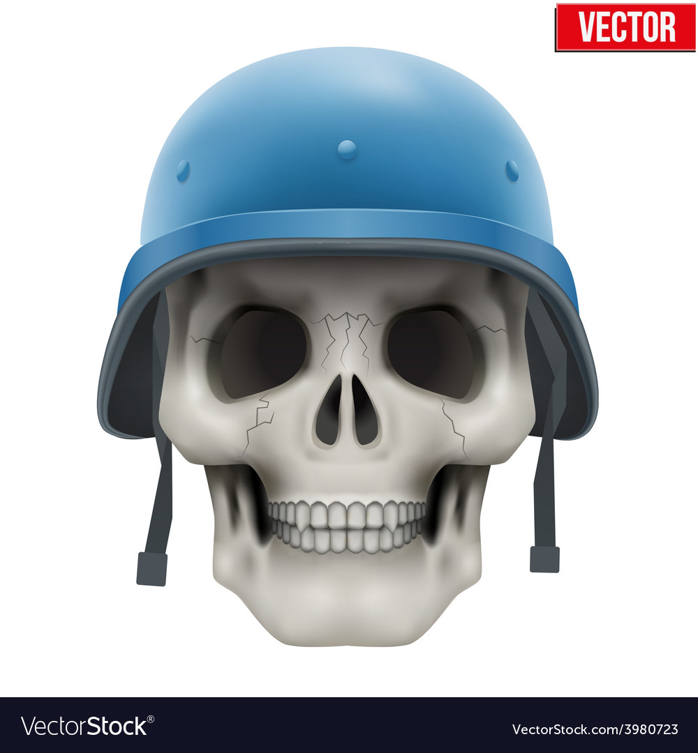 Human skull with military united nations helmet vector   Price: 3 Credit (USD $3)