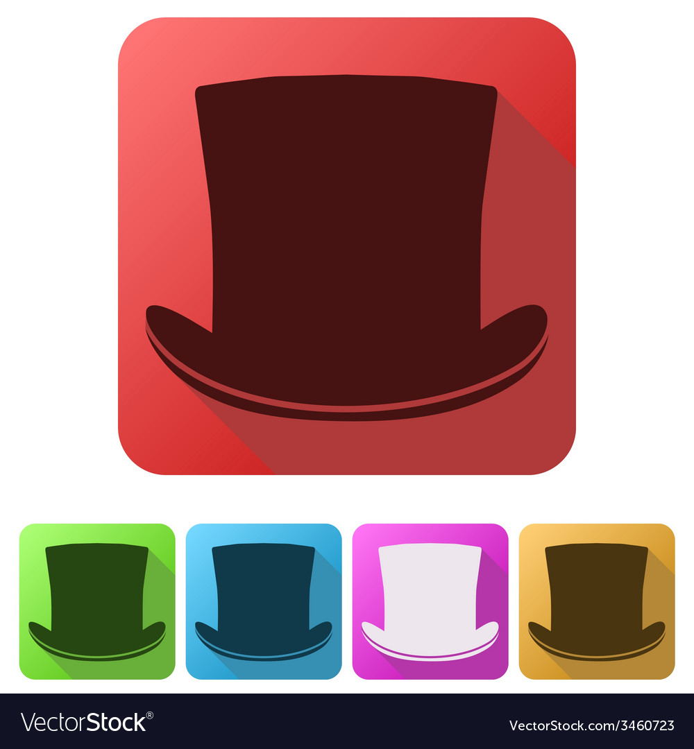 Set flat icons of black gentleman hat cylinder vector | Price: 1 Credit (USD $1)