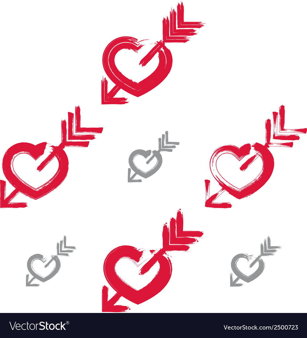 Set of hand-drawn red love heart icons collection vector | Price: 1 Credit (USD $1)