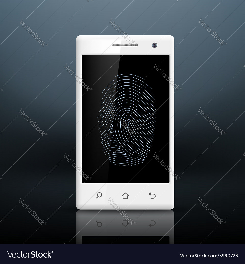 Smartphone with fingerprint on the screen vector | Price: 1 Credit (USD $1)