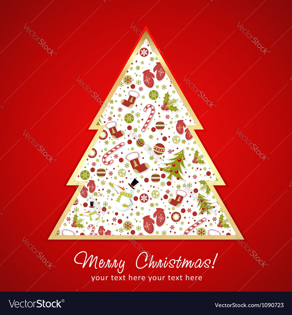 Stylized christmas tree with xmas toys vector | Price: 1 Credit (USD $1)